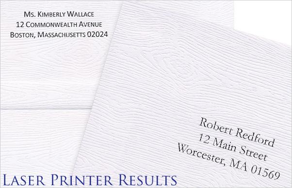 laser printer results on wood grain envelopes