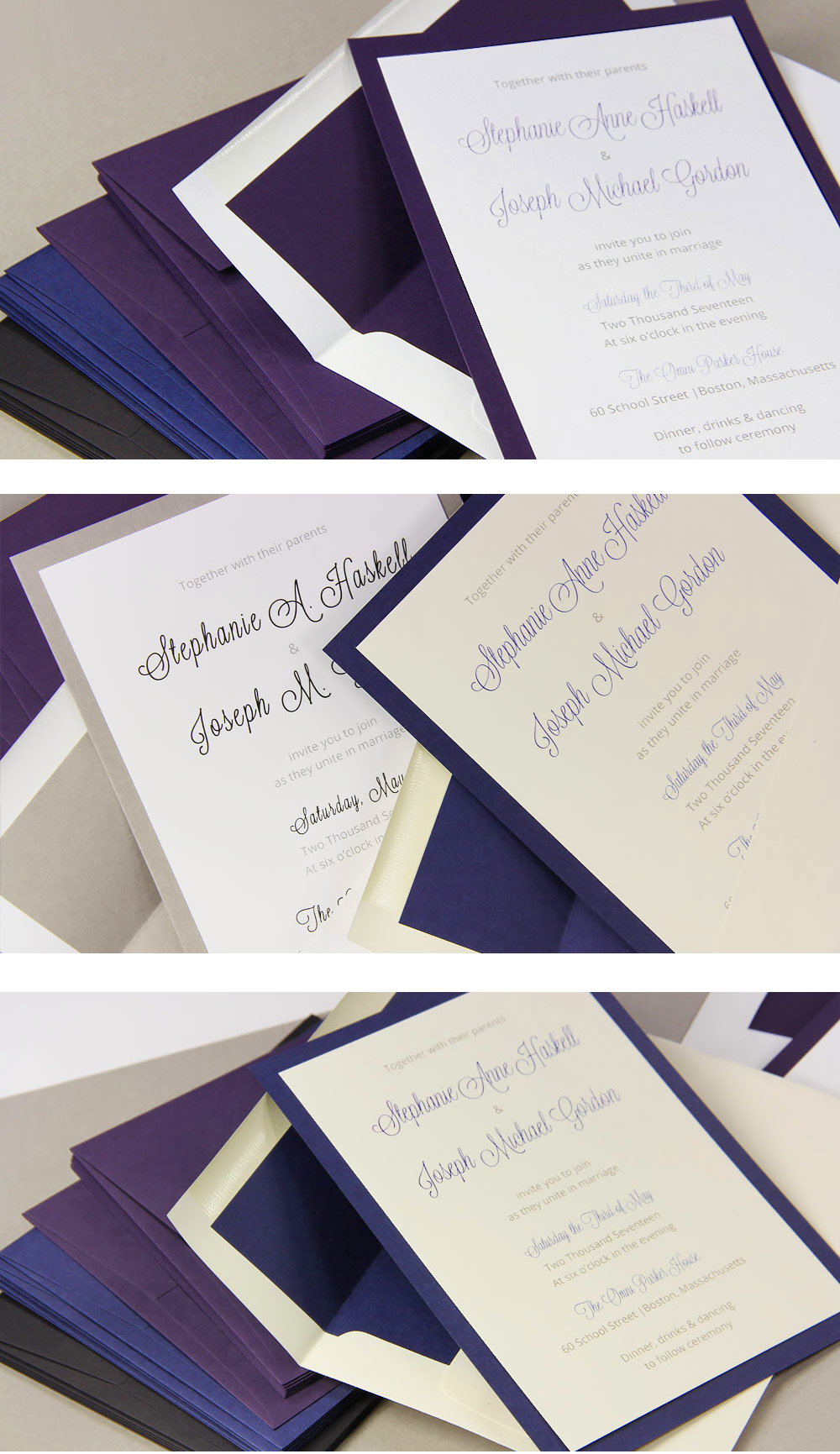Layered 5 x 7 wedding invitations with matching lined envelopes