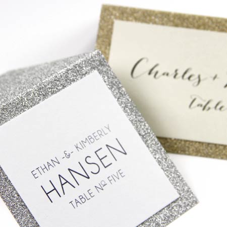 Layered glitter place cards