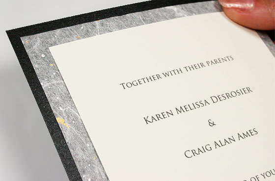 layered invitation with decorative tissue layer