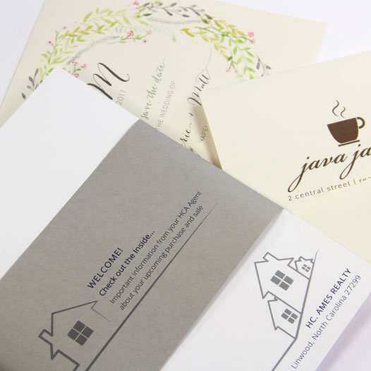 Smooth white and cream cards with matching envelopes, blank or printed