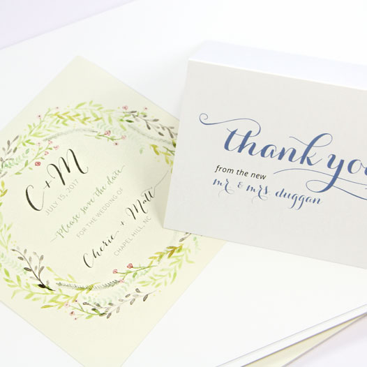Invite and thank you card printed on smooth LCI Paper