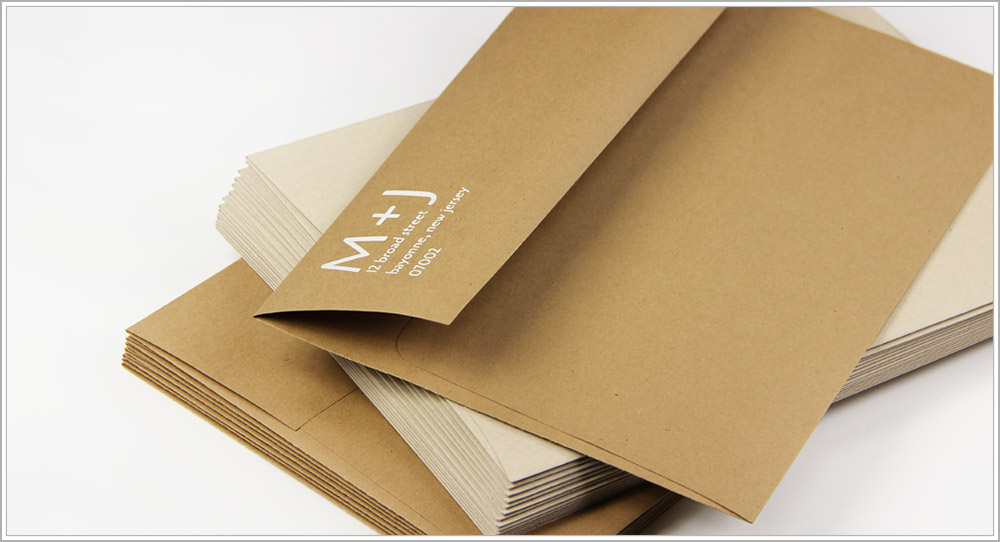 Custom backflap return address design printed on grocer kraft envelopes