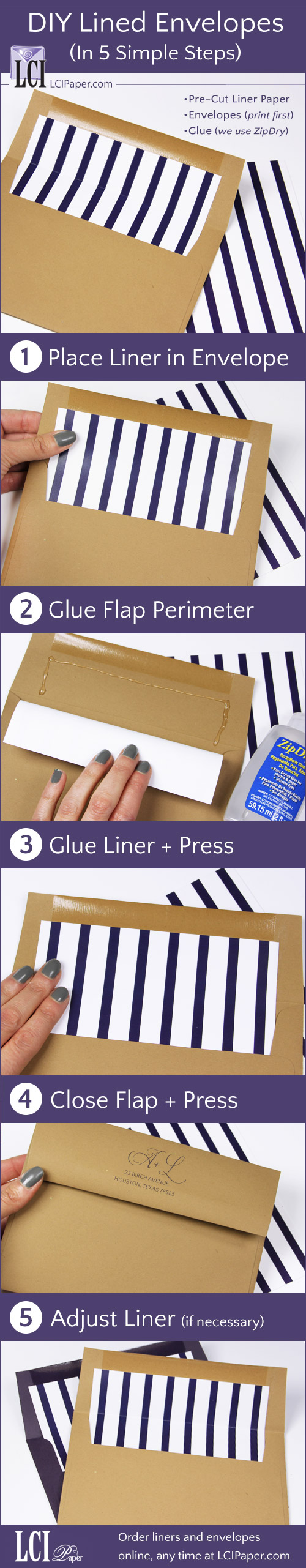 Infographic - line your own envelopes in 5 steps using LCI's printed pre-cut envelope liners