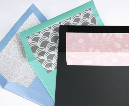 Hand lined square flap envelopes