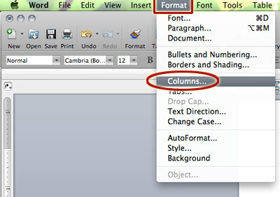 where to format columns in Microsoft word