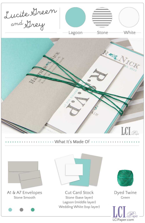 Lucite Green & Glacier Grey for a Spring Wedding Invite