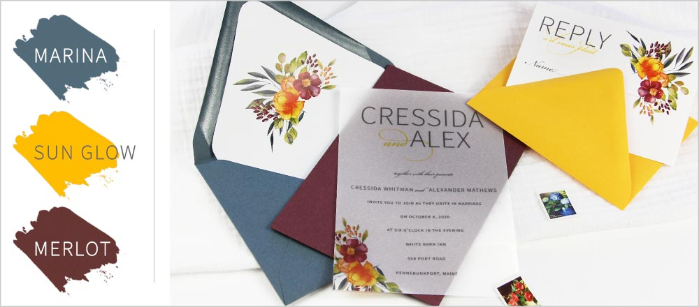 Top 2019 fall wedding color combination - dusty blue, merlot, pop of sun glow. Order invitation paper & envelopes blank or printed with your design from LCI Paper