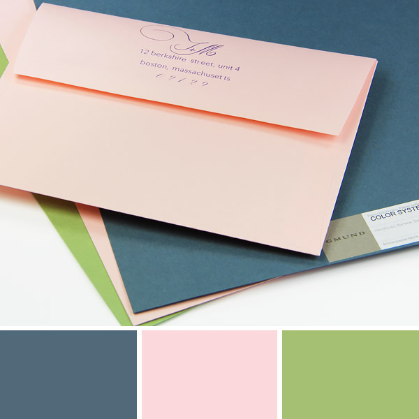 Marina, Rosa, Olive Green wedding color combination displayed with printed wedding envelope
