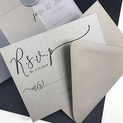 Colors Metallic Stone card and matching matte stone gray envelope