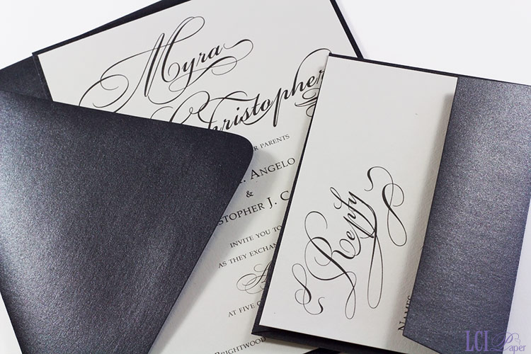 Gray and black wedding invitation with metallic black envelopes