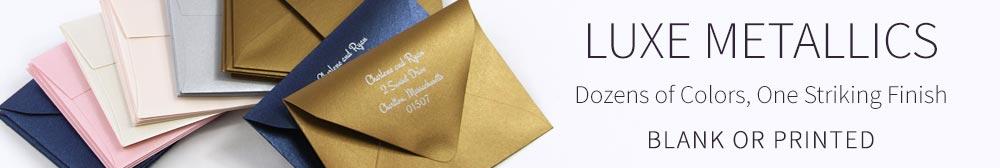 Order metallic shimmer invitation envelopes blank or printed
