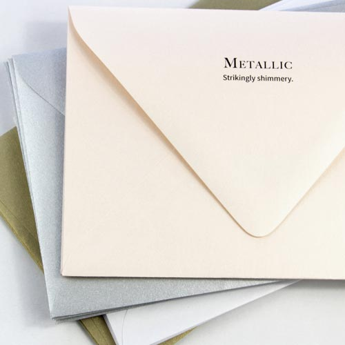 Order shimmer, metallic finish envelopes LCI Paper - dozens of colors blank or printed