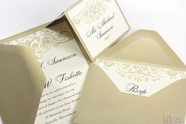 Layered metallic wedding invitation and place card made with Curious Metallics Gold Leaf