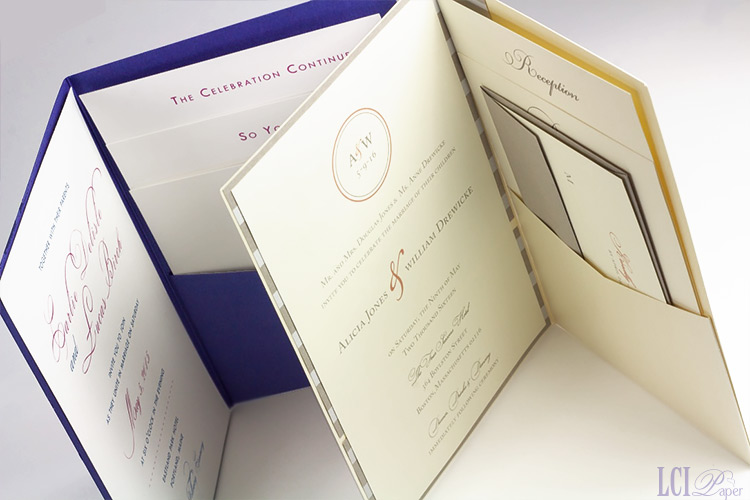Metallic pocket invitations with printable matte finish insert cards
