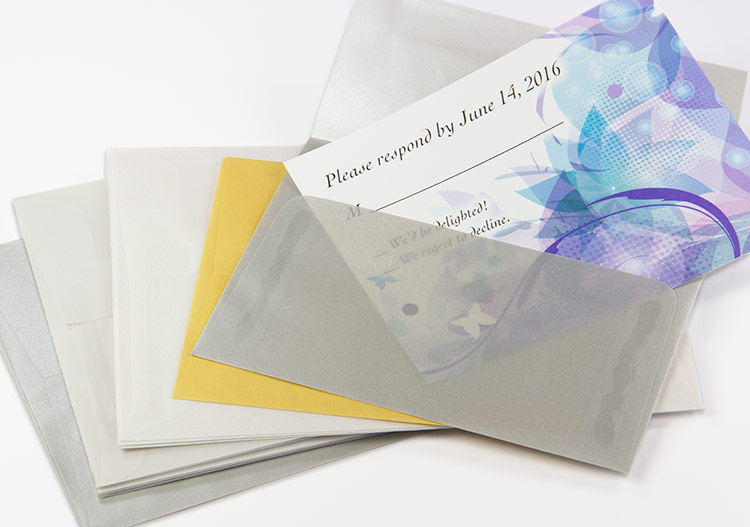 Metallic vellum envelopes with subtle opacity
