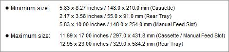 minimum paper size max paper size