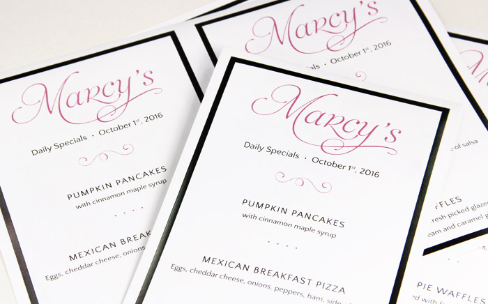 Easy print 2up menus printed with Daily Diner Specials