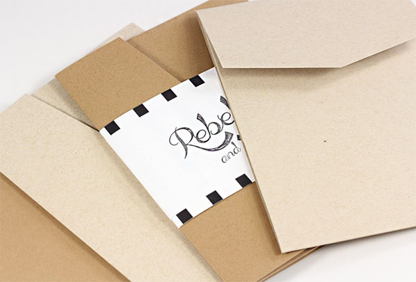 Neenah Environment Pocket Invitations in Landscape or Portrait Style. Offered in Grocer Kraft and Desert Storm.
