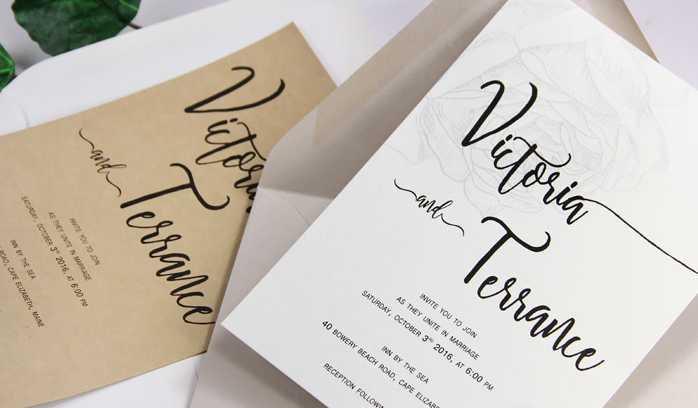Simple, natural wedding invitations printed on No Color No Bleach organic card stock