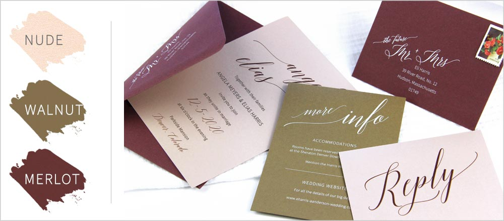 Wedding invitation suite made with metallic nude, merlot and walnut papers. 2019 fall wedding color ideas.