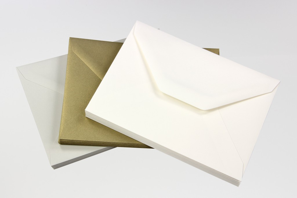 A7 Old World Envelopes, Gmund Colors Wedding White, Curious Metallics Gold Leaf, Cotton New Gray