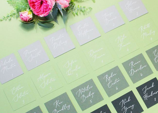 Green ombre wedding seating chart printed by LCI Paper. Download template and print/cut at home, or order printed and cut.