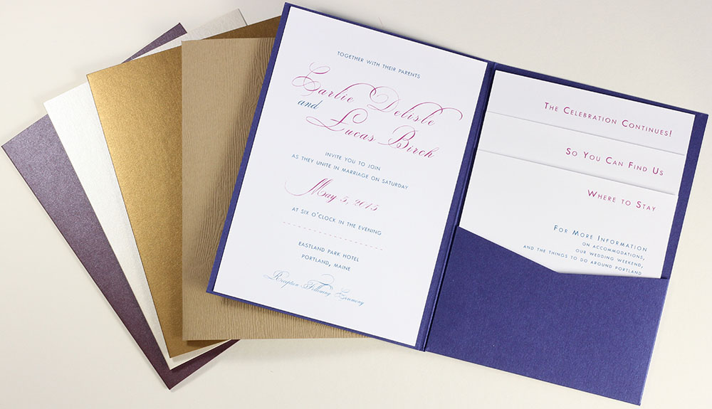 One Fold Pockets open up to display a pocket fit for an invitation or card. Call or shop online at LCIPaper.com
