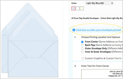 Order double wedding envelopes blank or addressed