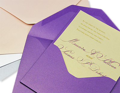 Curious Violette pocket card invitation
