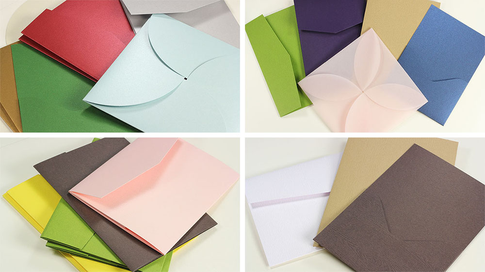 Pocket Invitations at LCI Paper come in a variety of styles, finishes, and colors. Shop