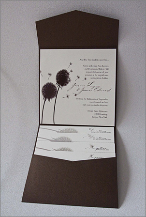 Stardream bronze brown pocket fold wedding invitation-dandelion theme