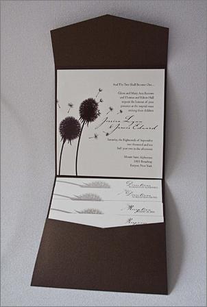 Stardream bronze brown pocket fold wedding invitation dandelion themePocket Fold Invitation Fall Wedding Design. Pocket Folds For Wedding Invitations. Home Design Ideas