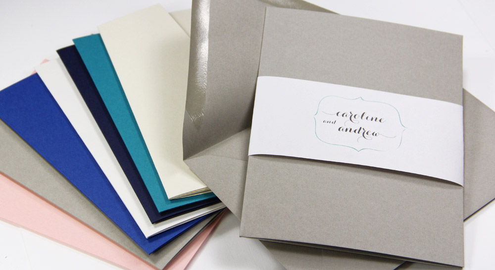 Invitation pockets made with luxury paper system - matte, metallic, textured finishes made to mix and match