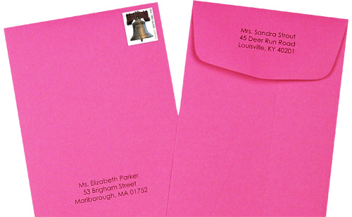 policy envelopes address vertically with return address on the back flap