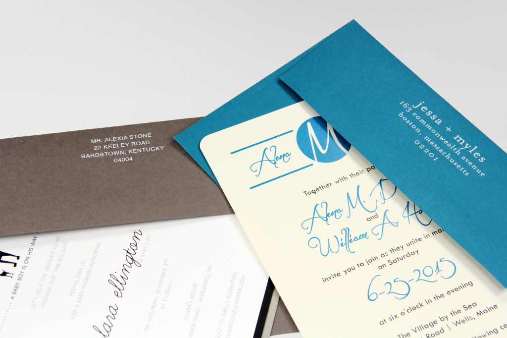 PopSet A7 urban gray and riviera blue with invitation cards