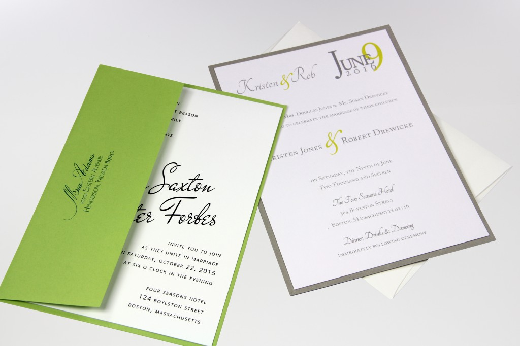 A7 PopTone Sour Apple and Gmund Colors Wedding White with invitation cards