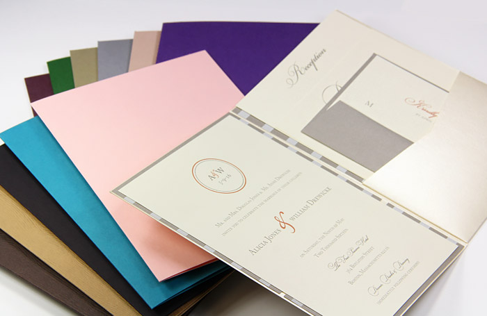 Array of bi-fold invitations, posh pockets from LCIPaper.com