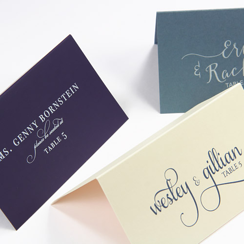 Colorful, contemporary name cards from LCI Paper. Order blank or printed with your custom design