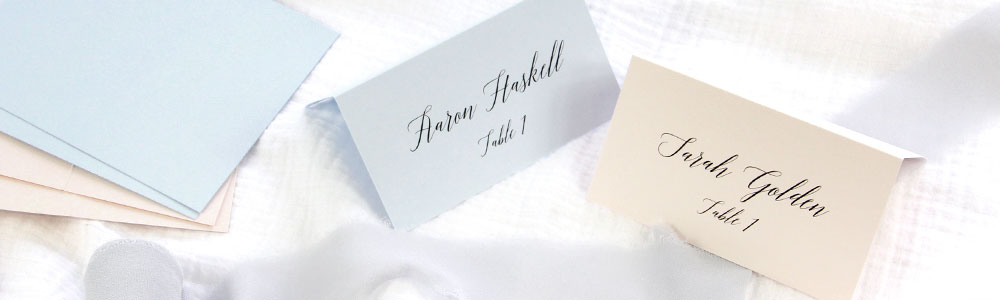 Blush and light blue place cards. How to print your own place cards using Word and free template from LCI Paper