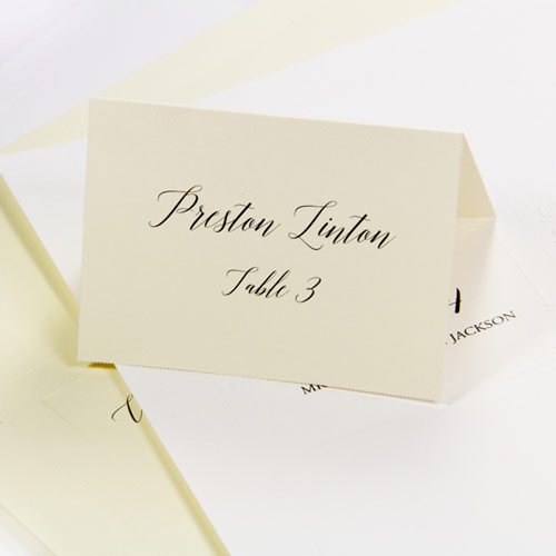 Printable place card in traditional white and cream colors
