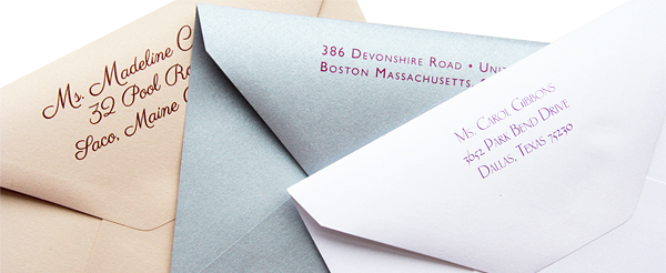 printed Curious Metallics envelopes