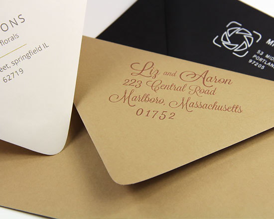 European flap envelopes with printed return address on back flap