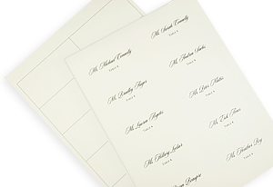 place cards printed on 65lb smooth ecru card stock before cutting - Printed Place Cards