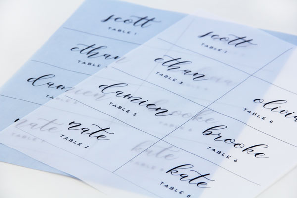 Print Vellum Place Cards