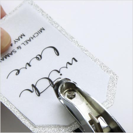 Punch hole through two layer favor tag - How to make your own layered favor tags - LCI Paper