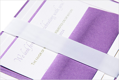 invitation suite with wide satin ribbon band