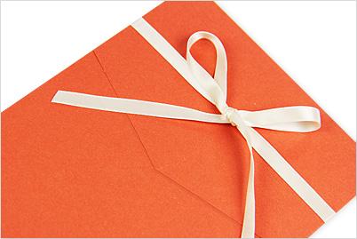 pocket fold flap closed with ribbon