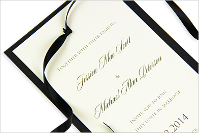 5 ways to tie ribbon like an invitation designer invitation layers held together with decorative satin ribbon stopboris Gallery