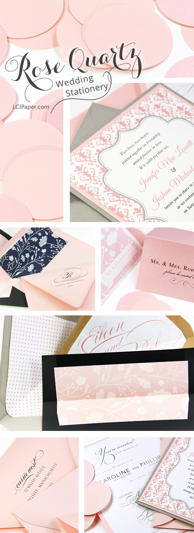 Pantone 2016 color of the year, rose quartz, in wedding invitations, envelopes, place cards